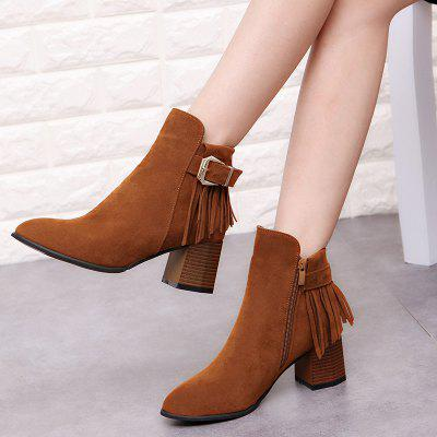 Ladies Winter Wind Tassels   Bare Short Cylinder BootsWomens Boots<br>Ladies Winter Wind Tassels   Bare Short Cylinder Boots<br><br>Boot Height: Ankle<br>Boot Type: Riding/Equestrian<br>Closure Type: Zip<br>Gender: For Women<br>Heel Type: Chunky Heel<br>Package Contents: 1 x Shoes?Pair?<br>Pattern Type: Solid<br>Season: Spring/Fall, Winter<br>Toe Shape: Pointed Toe<br>Upper Material: PU<br>Weight: 0.8960kg