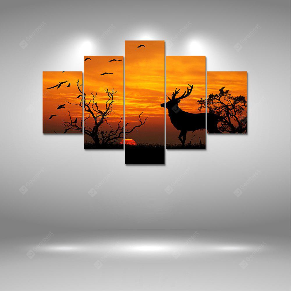 Sunset Deer Canvas Print Painting Home Decoration Wall Art Picture 5PCS