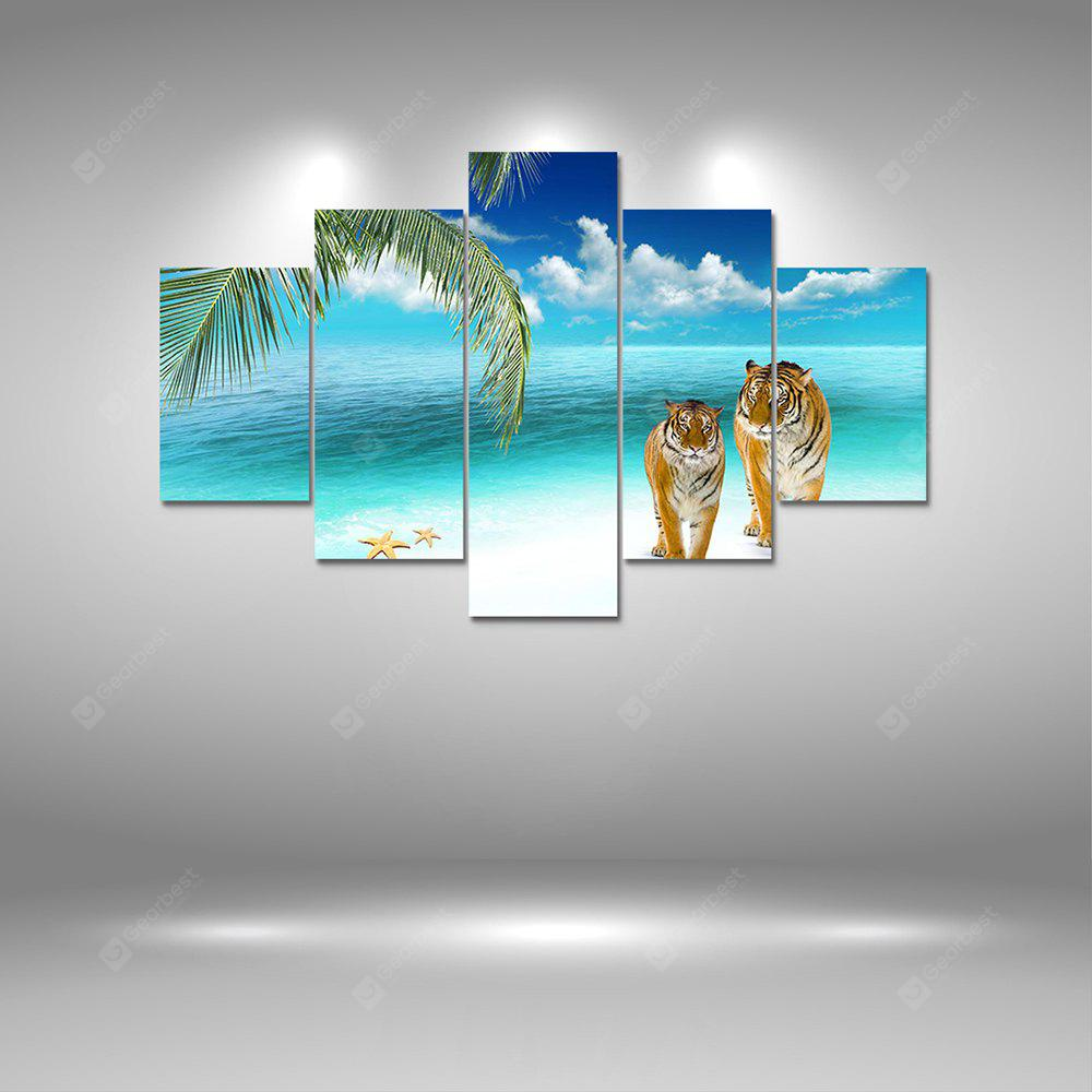 Tiger at Beach Canvas Print Painting Home Decoration Wall Art Picture 5PCS