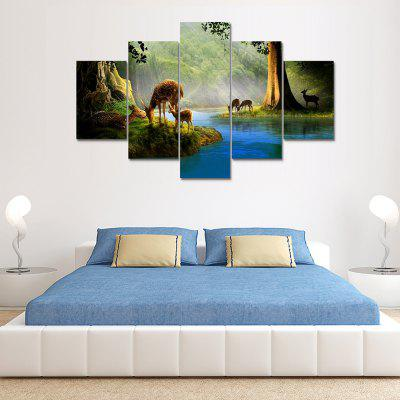 Stream Deers Canvas Print Painting Home Decoration Wall Art Picture 5PCS