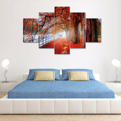 Red Woods Canvas Print Painting Home Decoration Wall Art Picture 5PCS