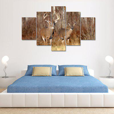 Overlooking The Deer Canvas Print Painting Home Decoration Wall Art Picture 5PCS