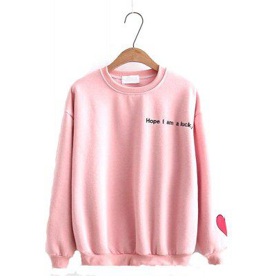 Buy PINK Sleeves Embroidered with Hearts and Letters Hoodie for $28.77 in GearBest store