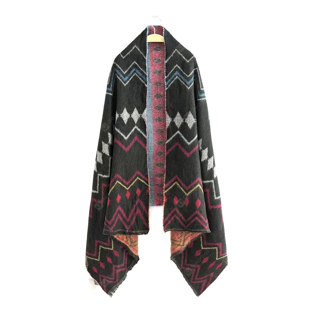 New Lady Black Diamond Pattern Shawl Scarf
