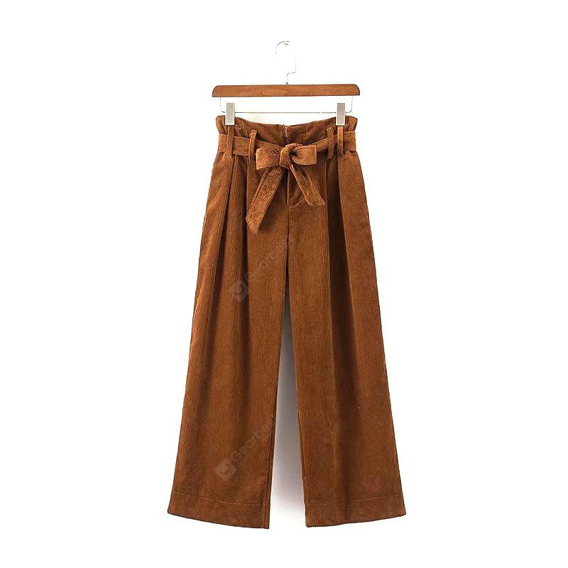 New Ladies Caramel Corduroy Wide Legged Pants