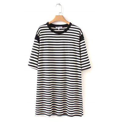 New Women's Long Black and White Striped Short Sleeved T-Shirt