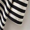 New Women's Long Black and White Striped Short Sleeved T-Shirt - BLACK STRIPE