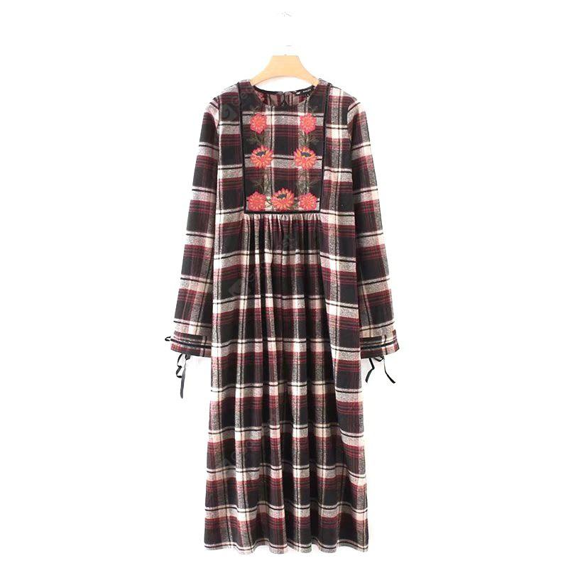 New Lady Embroidered Tartan Dress