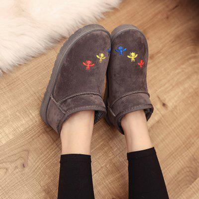 Winter Korean Fashion Flat Snow BootsWomens Boots<br>Winter Korean Fashion Flat Snow Boots<br><br>Boot Height: Ankle<br>Boot Type: Snow Boots<br>Closure Type: Slip-On<br>Embellishment: Embroidery<br>Gender: For Women<br>Heel Height: 2.5<br>Heel Height Range: Low(0.75-1.5)<br>Heel Type: Flat Heel<br>Insole Material: EVA<br>Lining Material: Plush<br>Outsole Material: Rubber<br>Package Contents: 1?Shoes?pair?<br>Pattern Type: Solid<br>Platform Height: 1<br>Season: Winter, Spring/Fall<br>Shoe Width: Medium(B/M)<br>Toe Shape: Round Toe<br>Upper Material: Flock<br>Weight: 1.8000kg