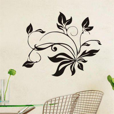 DSU Black Flower Refrigerator Window Cupboard Home Decoration Wall Sticker