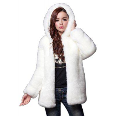 Faux Fur Coat Women White Long Sleeve Hooded Winter