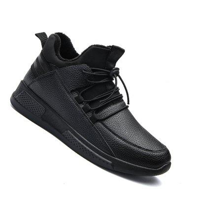 High Quality Genuine Leather Fashion Warm Cotton Ankle Boots Shoes Men for Winter