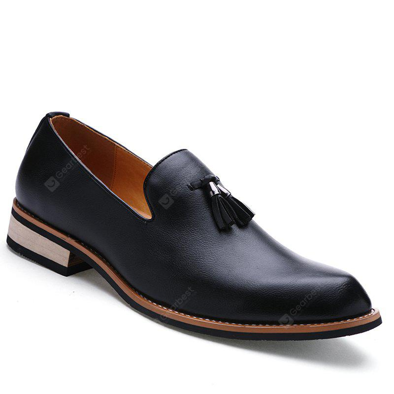 Fashion Genuine Leather Men Formal Casual Business Wedding Shoes 41 BLACK