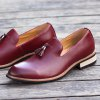 Fashion Genuine Leather Men Formal Casual Business Wedding Shoes - RED
