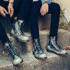Women Leather Boots Lady Outdoor Official Casual Female British Shoes - DARK GREY