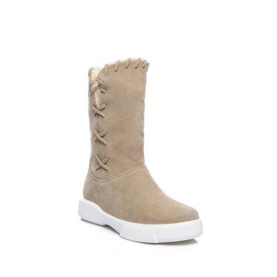 Plush Warm and Cold Proof Flat Top Leisure Short Boots Snow Boots
