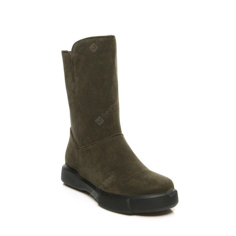 Round Head Frosted Warm and Thick Wool Flat Bottom Short Boots