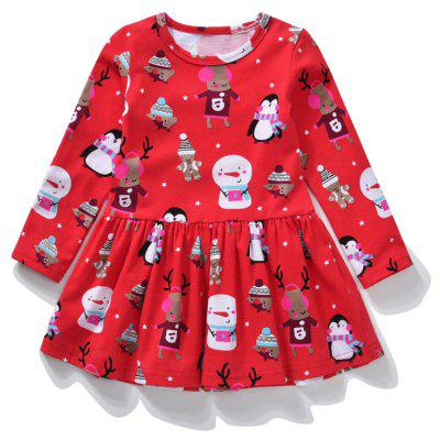 Christmas Cartoon Pattern Cotton Long Sleeved Girl Dress for 2 - 6 Year