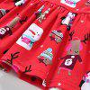 Christmas Cartoon Pattern Cotton Long Sleeved Girl Dress for 2 - 6 Year - RED