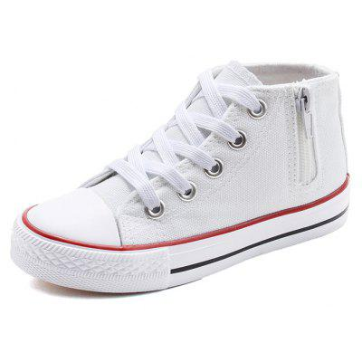 New Style Side Zipper Lace Decoration Pure Color Leisure Boys and Girls White Classic Canvas Shoes