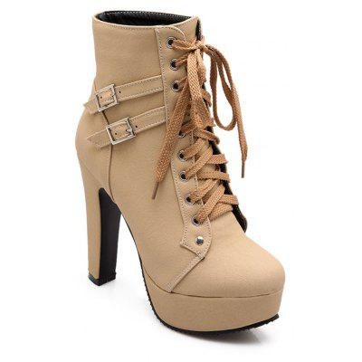 Spring Autumn Women Ankle Boots Female High Heels Lace Up Leather Shoes Woman Double Buckle Platform Fashion Shoes