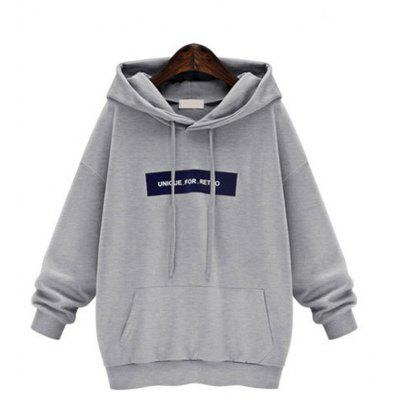 Buy GRAY M Sets and Pile Cap Letters Fleece Hoodie for $34.23 in GearBest store