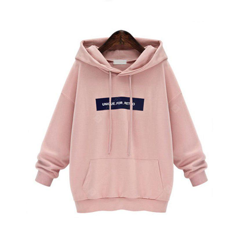 PINK L Sets and Pile Cap Letters Fleece Hoodie