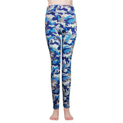 Buy BLUE + WHITE M Camouflage Print Yoga Pants for $13.23 in GearBest store
