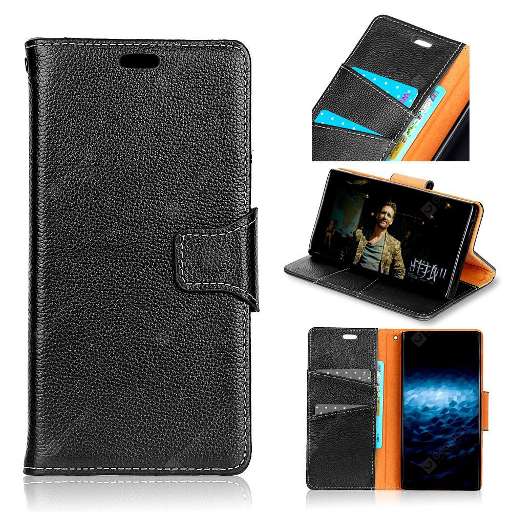 For MOTO G5 Plus Card Holder Wallet with Stand Full Body Solid Color Hard Genuine Leather Case Cover