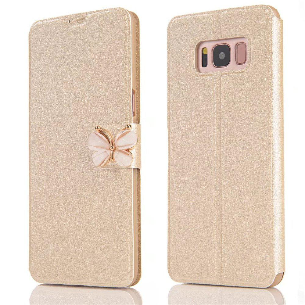Luxury Leather Wallet Stand Flip Fashion Bling Diamond Butterfly Bow Knot Cover Slot Card for Samsung Galaxy S8 Case