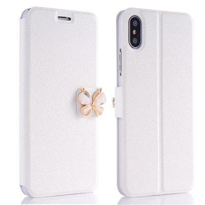 Buy WHITE Luxury Leather Wallet Stand Flip Fashion Bling Diamond Butterfly Bow Knot Cover Slot Card for iPhone X Case for $3.93 in GearBest store