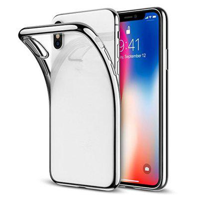 Luxury Plating Silicone Cover Gilded TPU Frame Transparent Back  for iPhone X