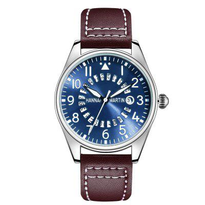 Hannamading KY-11 4857 Business Men Waterproof Leather Band Quartz Watch with Box