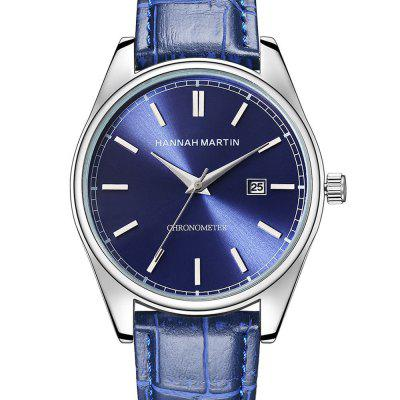 Hannamading KY-13 4858 Business Waterproof Leather Band Calendar Men Quartz Watch with Box