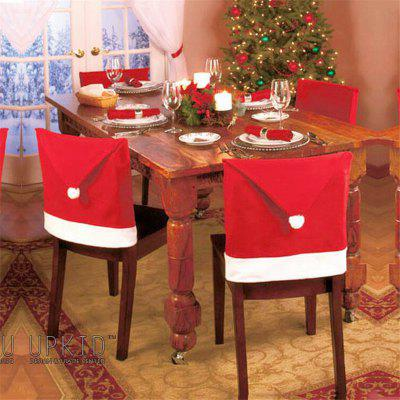 10pcs Christmas Decoration Red Hat Chair Covers