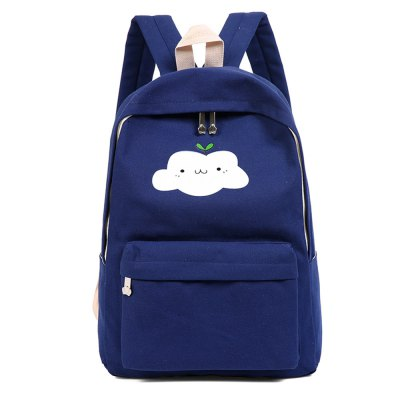 Simple Solid Color Canvas Cloud Printing Shoulder Bag 3pcs