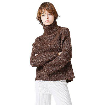 Toyouth Long Sleeve Sweater Turtleneck Loose Cotton Fashion Causal Sweater