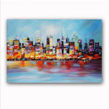 Happy Art Handed Canvas  Modern Seascape Building Oil Painting