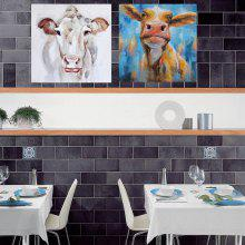 Happy Art Handed Canvas Fashion Cows Oil Painting 2PCS