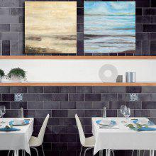 Happy Art Handed Canvas Fashion Seascape  Oil Painting Wall 2PCS