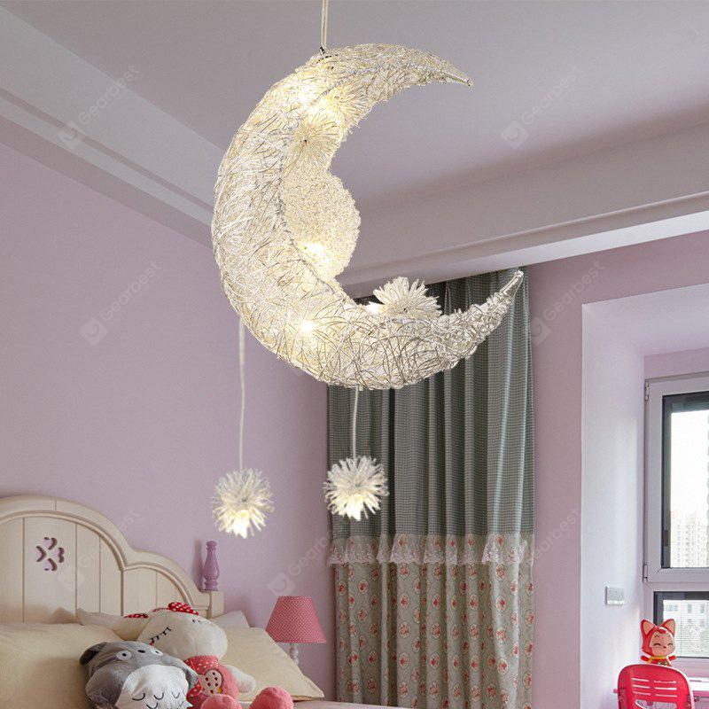 JUEJA Aluminum Wire LED Pendant Light Moon Star Shape