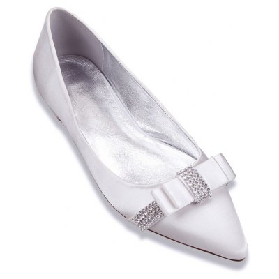 Buy WHITE 43 Women's Comfort Satin Spring Summer Wedding Party Rhinestone Bowknot Shoes for $32.67 in GearBest store