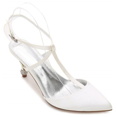 Buy IVORY COLOR 37 17767-31Women's Wedding Shoes T-Strap Comfort Basic Pump Ankle Strap Spring Summer Satin Wedding Dress Party & Evening Rhinestone Sparkling for $48.98 in GearBest store