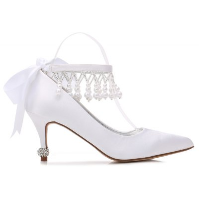 17767-32Womens Wedding Shoes Comfort Basic Pump Spring Summer Satin Wedding Dress Party &amp; Evening Rhinestone Bowknot Pearl Imitation PearlWomens Pumps<br>17767-32Womens Wedding Shoes Comfort Basic Pump Spring Summer Satin Wedding Dress Party &amp; Evening Rhinestone Bowknot Pearl Imitation Pearl<br><br>Available Size: 36 37 38 39 40 41 42<br>Embellishment: Beading<br>Heel Height: 7.5<br>Heel Height Range: High(3-3.99)<br>Heel Type: Stiletto Heel<br>Insole Material: PU<br>Lining Material: PU<br>Occasion: Wedding<br>Outsole Material: Rubber<br>Package Contents: 1 x Shoes (Pair)<br>Pumps Type: Basic<br>Season: Spring/Fall, Summer<br>Toe Shape: Pointed Toe<br>Toe Style: Closed Toe<br>Upper Material: Mesh<br>Weight: 1.0440kg
