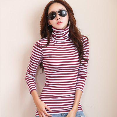Womens Cotton Long-Sleeved Striped High-Necked T-ShirtTees<br>Womens Cotton Long-Sleeved Striped High-Necked T-Shirt<br><br>Collar: Turtleneck<br>Elasticity: Micro-elastic<br>Fabric Type: Broadcloth<br>Material: Cotton<br>Package Contents: 1 x T-Shirt<br>Pattern Type: Striped<br>Shirt Length: Regular<br>Sleeve Length: Full<br>Style: Casual<br>Weight: 0.2200kg