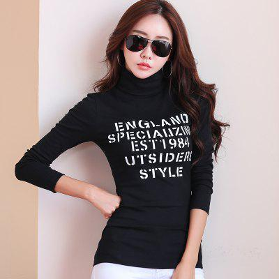 Womens Cotton Long-Sleeved Letter Printing High-Necked T-ShirtTees<br>Womens Cotton Long-Sleeved Letter Printing High-Necked T-Shirt<br><br>Collar: Turtleneck<br>Elasticity: Micro-elastic<br>Fabric Type: Broadcloth<br>Material: Cotton<br>Package Contents: 1 x T-Shirt<br>Pattern Type: Letter<br>Shirt Length: Regular<br>Sleeve Length: Full<br>Style: Casual<br>Weight: 0.2200kg