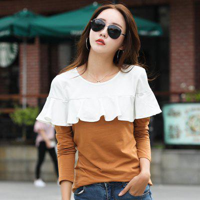 Womens Lotus Leaf Stitching Loose Irregular T-ShirtTees<br>Womens Lotus Leaf Stitching Loose Irregular T-Shirt<br><br>Collar: Round Neck<br>Elasticity: Micro-elastic<br>Fabric Type: Broadcloth<br>Material: Cotton<br>Package Contents: 1 x T-Shirt<br>Pattern Type: Others<br>Shirt Length: Regular<br>Sleeve Length: Full<br>Style: Casual<br>Weight: 0.2000kg