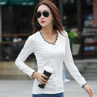 Womens Personality V-Neck Slim Hit Long-Sleeved T-ShirtTees<br>Womens Personality V-Neck Slim Hit Long-Sleeved T-Shirt<br><br>Collar: V-Neck<br>Elasticity: Micro-elastic<br>Fabric Type: Broadcloth<br>Material: Cotton<br>Package Contents: 1 x T-Shirt<br>Pattern Type: Others<br>Shirt Length: Regular<br>Sleeve Length: Full<br>Style: Casual<br>Weight: 0.2000kg
