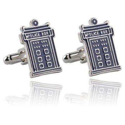 Men's Mysterious Doctor Phone Booth Creative Cufflink Accessory