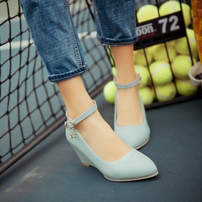 Womens Heels Spring Summer Formal Shoes Dress Wedge Heel BuckleWomens Pumps<br>Womens Heels Spring Summer Formal Shoes Dress Wedge Heel Buckle<br><br>Available Size: 33-43<br>Embellishment: Metal<br>Heel Height: 6.5<br>Heel Height Range: Med(1.75-2.75)<br>Heel Type: Wedge Heel<br>Insole Material: PU<br>Lining Material: PU<br>Occasion: Wedding<br>Outsole Material: Rubber<br>Package Contents: 1xShoes(pair)<br>Platform Height: 1<br>Pumps Type: Mary Janes<br>Season: Summer, Spring/Fall<br>Shoe Width: Medium(B/M)<br>Toe Shape: Pointed Toe<br>Toe Style: Closed Toe<br>Upper Material: PU<br>Weight: 1.8480kg